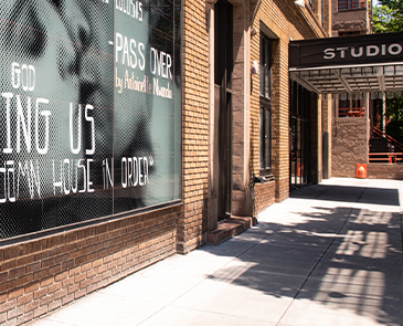 Studio Theatre exterior photo, painted with messages in support of Black Lives and Matter. Photo by Margot Schulman