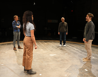 (From left to right) Scott Parkinson, Kathryn Tkel, Alan Wade and Randy Harrison in rehearsal for Cock.