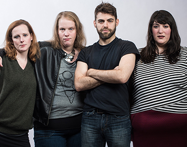 Anna O'Donoghue, playwright Morgan Gould, Tommy Heleringer, and Nicole Spiezio. Photo: Teddy Wolff