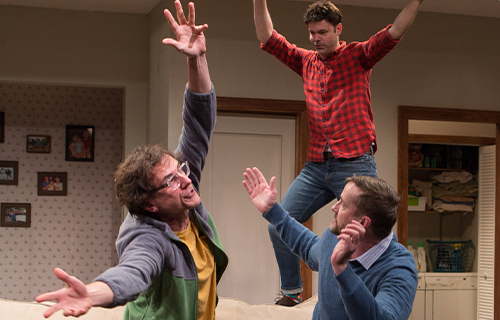 Michael Tisdale, Avery Clark, and Bruch Reed in Straight White Men.